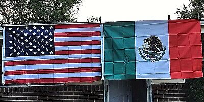 American and Mexican Flag Set 3X5 USA Mexico Banner