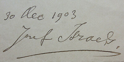 JOZEF ISRAELS (1827-1911), AUTOGRAPH, SIGNATUR, SIGNATURE, TINTE, INK, 1903