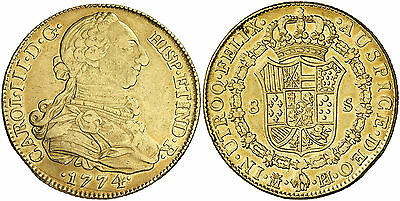 Click now to see the BUY IT NOW Price! 1774 SPANISH GOLD COIN CARLOS III 1759-1788 MONARCHI 8 ESCUDO SS 557/0510
