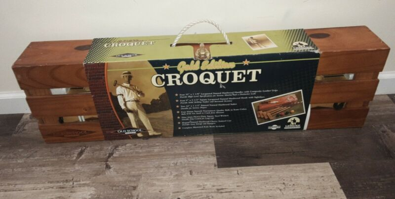 Vintage Croquet Set Old School Sports Gold Edition In Wooden Box NEW-