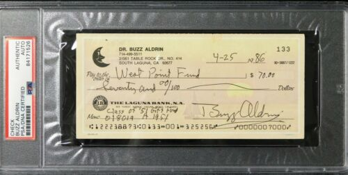 Buzz Aldrin NASA Astronaut Signed Cancelled Check PSA Authenticated Slabbed