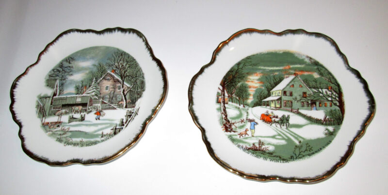 """2-PLATE LOT: Currier & Ives 7"""" The Homestead In Winter + Farmer"""