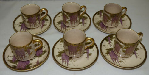 Set 6 Signed Antique Japanese Satsuma Demitasse Cups & Saucers Wisteria & Gold