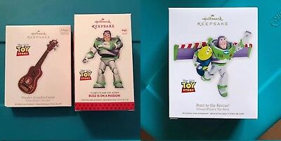 Hallmark Keepsake Lot 3 Toy Story 2012 Woody's Roundup Guitar 2013 Buzz Ornament for sale  Shipping to Canada