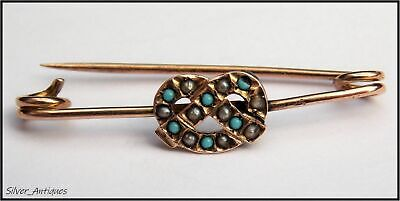 PRETTY GEORGIAN TURQUOISE & BLACK SEED PEARL 9CT GOLD BROOCH Circa 1800
