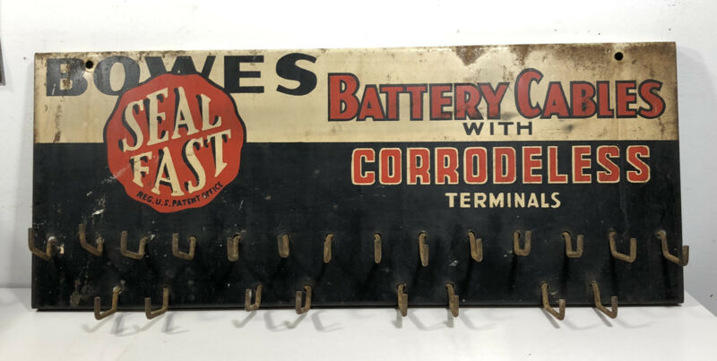 Vtg 50s Bowes Seal Fast Battery Cable W/ Corrodeless Terminals Rack Sign Display
