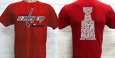 Washington Capitals 2018 Stanley Cup Championship T Shirt  Roster On Back  Red