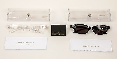 Joan Rivers Set of 2 Lightweight Flex Readers +2.0 Clear & Sunglasses with cases