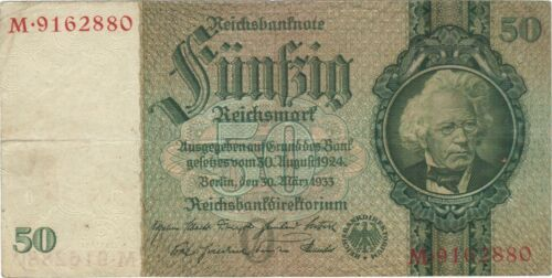 1933 50 REICHSMARK NAZI GERMANY CURRENCY BANKNOTE NOTE MONEY BANK BILL CASH WWII
