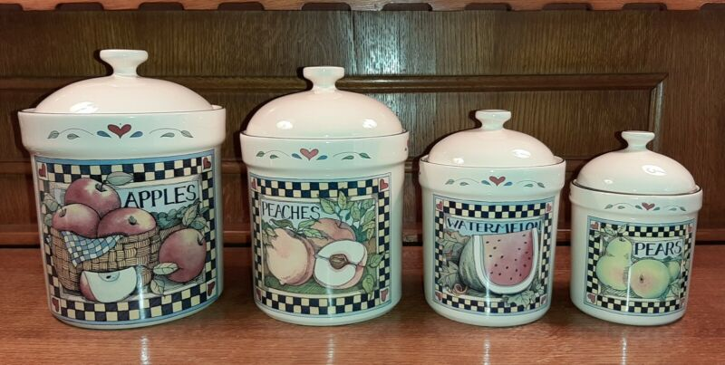 Susan Winget Fruit Canister Set of 4 Certified International With Box! Perfect!
