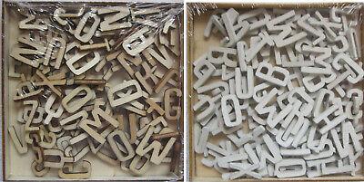 3D Holzbuchstaben Alphabet ABC 104tlg. natur weiß Basteln Scrapbooking Streudeko ()