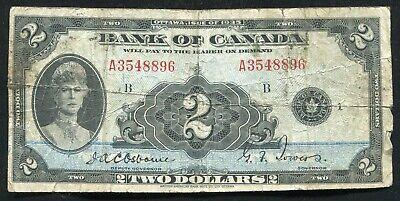 "BC-3 1935 $2 TWO DOLLARS THE BANK OF CANADA ""ENGLISH"" BANKNOTE (B)"