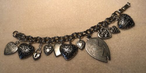 """Vintage Puffy Heart Silver Plate Charm Bracelet 7"""" With Charms"""