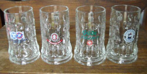 Set of 4 Dimpled Glass Beer Stein Mug Rastal of Germany 0.4L