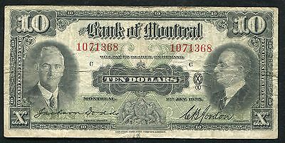 1935  10 Ten Dollars The Bank Of Montreal Canada Chartered Banknote  B