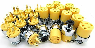 24-pc Male & Female Extension Cord Replacement Electrical Plugs 15AMP 125V End
