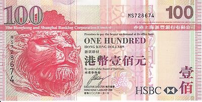 Hong Kong Hsbc  2008 100 Dollars P209e   Unc