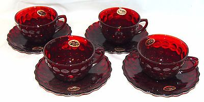 4 Anchor Hocking BUBBLE RUBY RED *CUPS & SAUCERS* w/STICKERS*