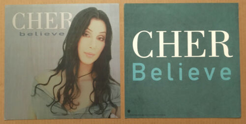 CHER Rare 1998 Set of 2 DOUBLE SIDED PROMO POSTER FLAT for Believe CD 12x12 USA