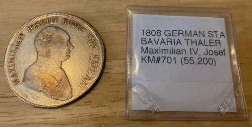 1808 German States BAVARIA THALER KM#701 RARE