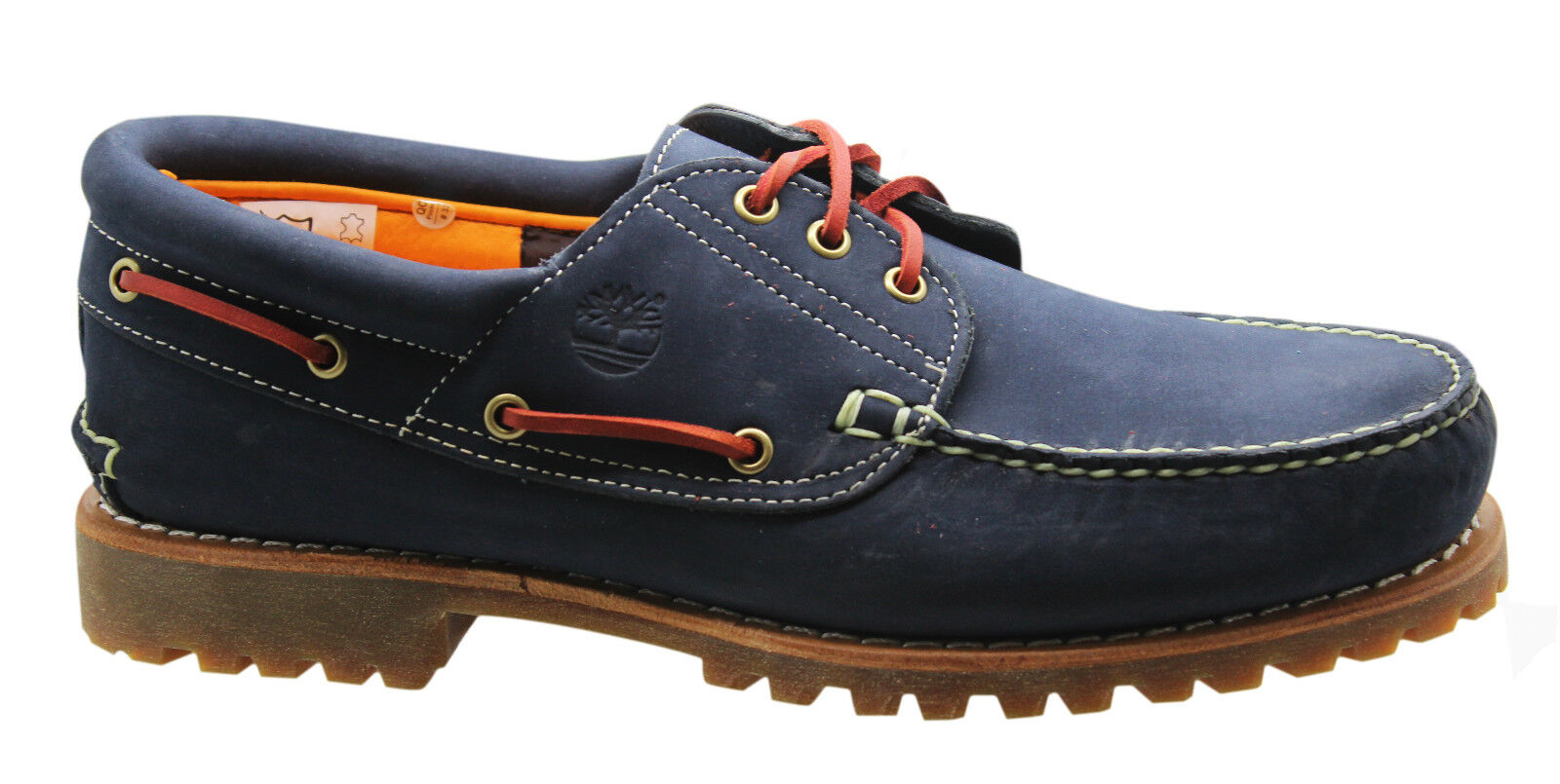 5411adaa5ecf Details about Timberland Authentic 3Eye Classic Lug Mens Boat Shoes Navy  Blue Nubuck 9753B D16
