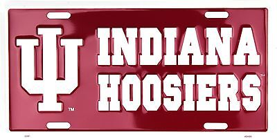 (University of Indiana Hoosiers Embossed Metal License Plate Auto Tag Sign)