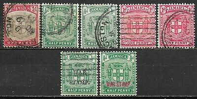 1904-1919 JAMAICA SET OF 7 USED STAMPS (Michel # 34, 48, 49, 70II, 74)