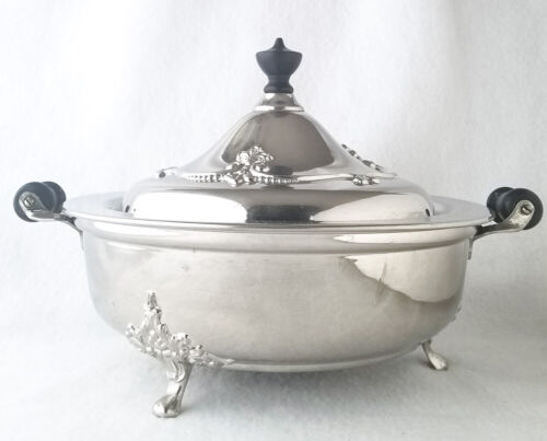 """Silver Plated Casserole Holder, 9 1/2"""" Covered Metal Caddie, Wood Handles"""