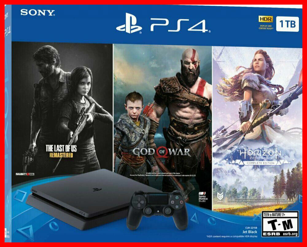 New Sony PlayStation 4 PS4 Slim 1TB Console  3 Game Bundle F