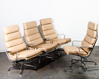 Mid Century Modern Lounge Chair Set 4 Eames Soft Pad High Herman Miller Beige NM for sale  Lodi