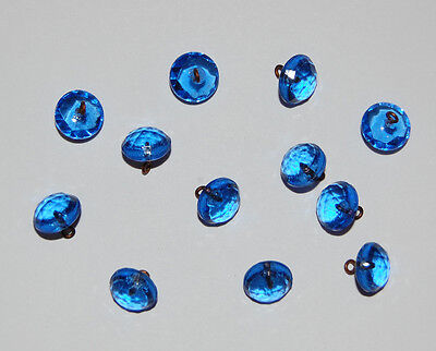 VINTAGE 12 SAPPHIRE BLUE FACETED GLASS BUTTON ANTIQUE BEADS BUTTONS 10mm