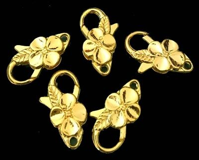 - 25x14mm Large Gold Pewter Flower Lobster Claw Clasps (5)