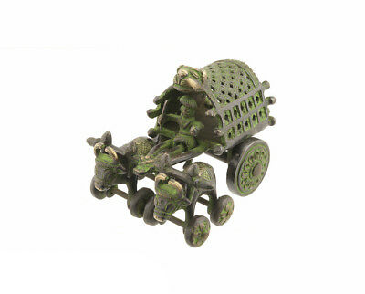 Trolley and His Buffaloes Art Tribal Orissa in Brass Green Patina 4892.