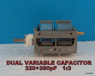 1pcs Dual Variable Air Tuning Capacitor 320 380 Pf 200v 13 Crystal Radio Ham