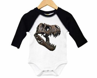 BABY T-REX OUTFIT, T-Rex Skull, DINOSAUR BODYSUIT, RAGLAN, INFANT T-Tex CREEPER