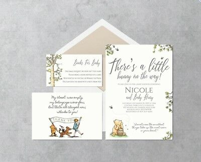 Classic Winnie the Pooh Baby Shower Invitations, books for baby, thank