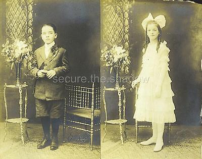 RPPC: WINSOME BROTHER & SISTER CATHOLIC FIRST COMMUNIONS, BROOKLYN, NEW YORK](First Communions)