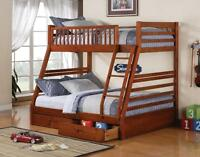 Twin over Full Bunk Bed w/Free Storage Drawers! Free Delivery!