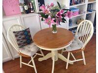 Laura Ashley Farmhouse Two Seater Breakfast Cream Dinner Table & Chairs