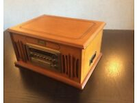 Radio, Vinyl, Compact Disc & Cassette Player in small Teak Cabinet
