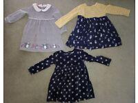 Baby girl clothes/dresses 12-18months (John Lewis x2/Next x1)