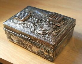 Vintage antique embossed hinged Japanese card box
