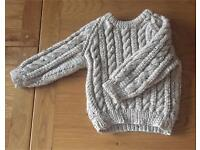 Quality hand knitted brown woollen jumper 2-3 y