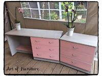 A Set of Bedroom Furniture Hand Painted in Paris Grey & Pink Chalk Paint