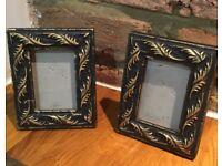 Pair mini refurbished black / gold photo frames