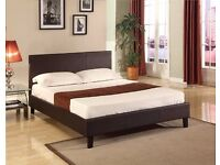 【COLORS OPTION AVAILABLE】DOUBLE LEATHER BED MODERN DESIGN BLACK BROWN DOUBLE 4FT6 KINGSIZE 5FT