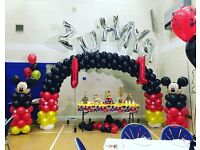 Mickey & Minnie Party - Cake Table - Balloon Arch - Mickey Party Box Bouncy Castle & Soft Play Hire