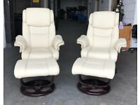 Stressless Style chair x2 cream faux leather DELIVERY AVAILABLE