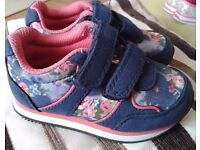 Girls floral prints trainers. Size 5