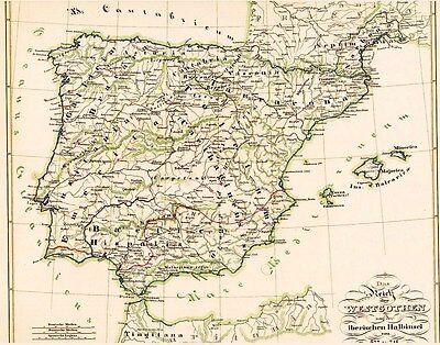 174 Jahre alte LANDKARTE Spanien KÖNIGREICH der WESTGOTEN Reino Visigodo 1846